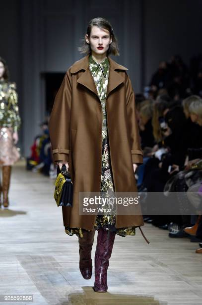 Giedre Dukauskaite walks the runway during the Rochas show as part of the Paris Fashion Week Womenswear Fall/Winter 2018/2019 on February 28 2018 in...
