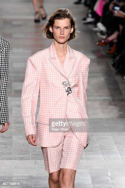 Giedre Dukauskaite walks the runway during the Sonia Rykiel show as part of the Paris Fashion Week Womenswear Spring/Summer 2018 on September 30 2017...