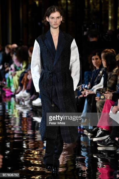 Giedre Dukauskaite walks the runway during the Stella McCartney show as part of the Paris Fashion Week Womenswear Fall/Winter 2018/2019 on March 5...