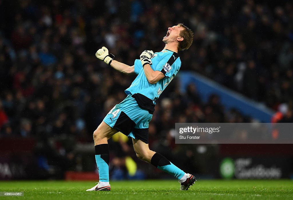Giedrius Arlauskis of Watford celebrate his team's third goal during the Barclays Premier League match between Aston Villa and Watford at Villa Park on November 28, 2015 in Birmingham, England.