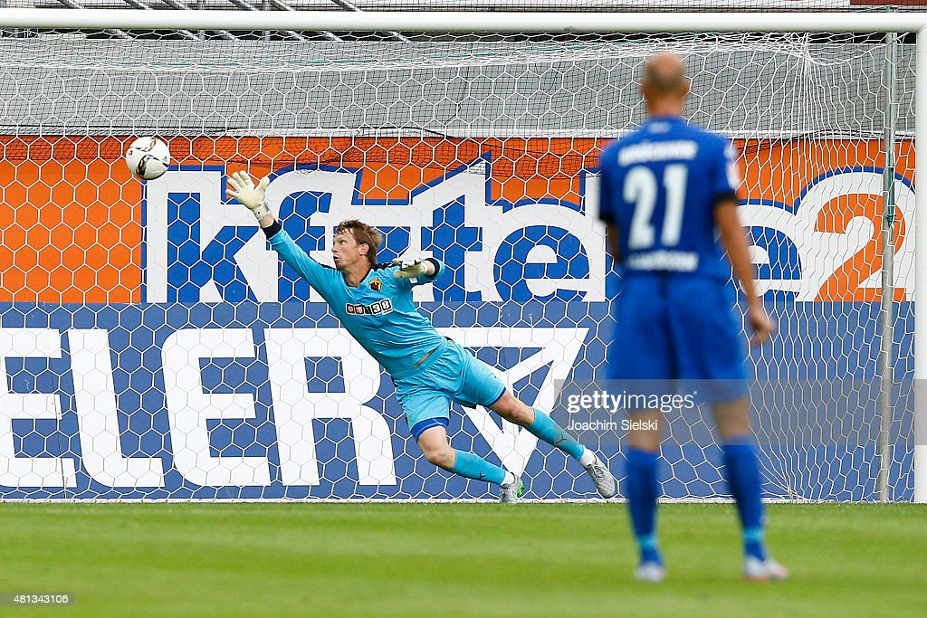Giedrius Arlauskis of Watford during the preseason friendly match between SC Paderborn and Watford FC at Benteler Arena on July 19, 2015 in Paderborn, Germany.