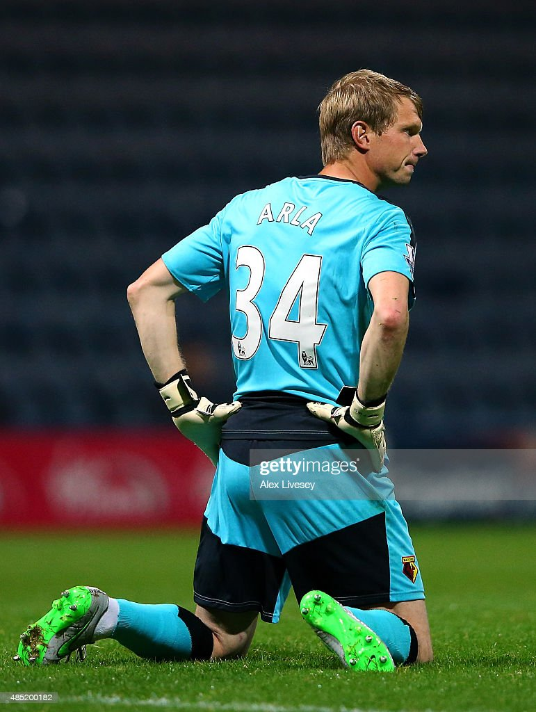 Giedrius Arlauskis of Watford looks dejected during the Capital One Cup Second Round match between Preston North End and Watford at Deepdale on August 25, 2015 in Preston, England.