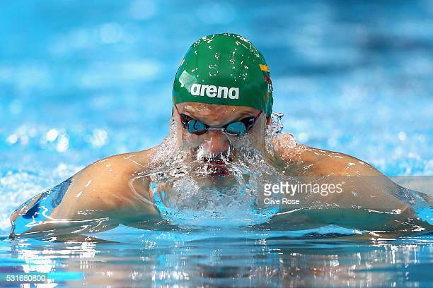 Giedrius Titenis of Lithuania competes in the Men's 100m Breastroke heats on day eight of the 33rd LEN European Swimming Championships 2016 at the...