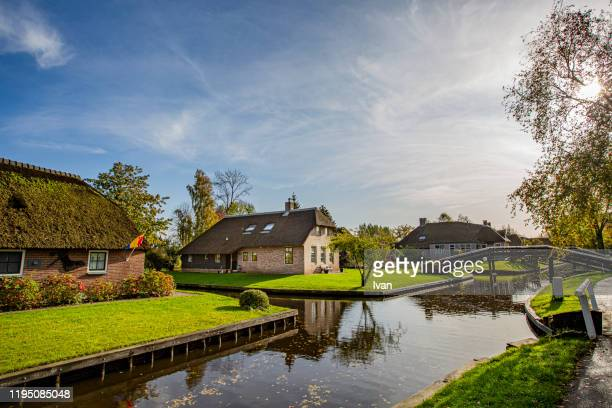 giethoorn village scene - giethoorn stock pictures, royalty-free photos & images