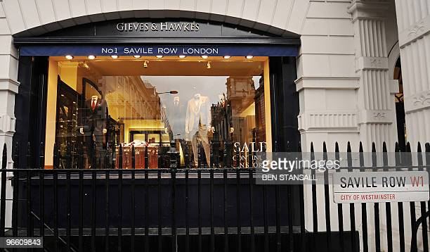 Gieves and Hawkes tailors shop where British Fashion designer Alexander McQueen worked before setting up his own label is pictured on Savile Row in...