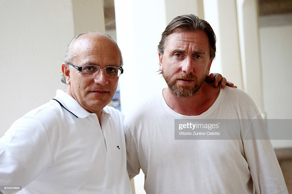 Giffoni Film Festival Director Claudio Gubitosi (L) poses with actor Tim Roth (R) in the cloister of San Francesco Convent during the Giffoni Film Festival on July 19, 2008 in Giffoni, Italy.