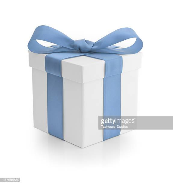 geschenk-baby blue ribbon - hellblau stock-fotos und bilder
