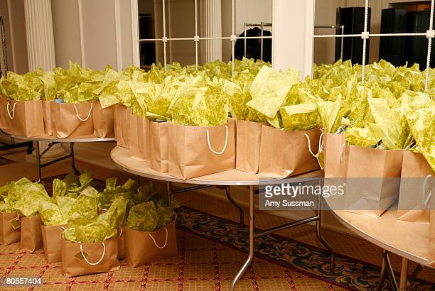 """Gift bag at """"Intellegentsia,"""" a panel discussion hosted by Elle magazine and OfficeMax at The Plaza on April 7, 2008 in New York City."""