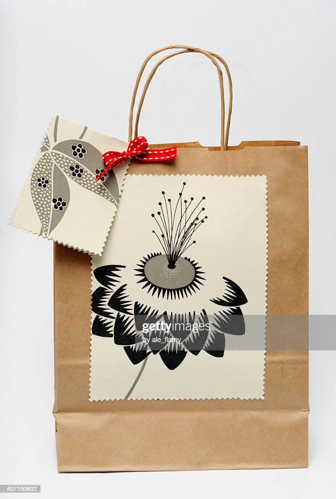 Gift bag on white background (made by myself) : Stock Photo