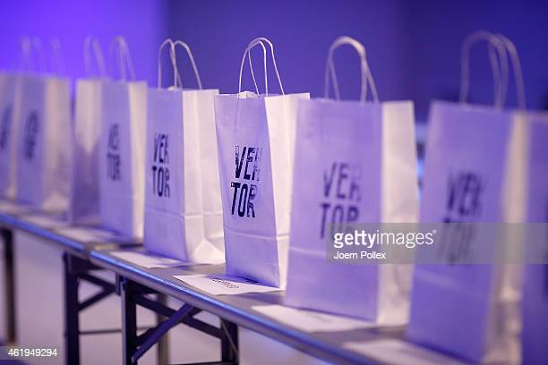 Gift bags ahead of the Vektor show during the MercedesBenz Fashion Week Berlin Autumn/Winter 2015/16 at Brandenburg Gate on January 22 2015 in Berlin...