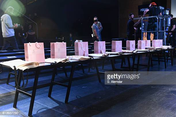 Gift bags are seen backstage ahead of the Aslialev show during MercedesBenz Fashion Week Istanbul at Zorlu Center on October 11 2016 in Istanbul...