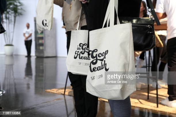 Gift bags are seen during the In goop Health Summit San Francisco 2019 at Craneway Pavilion on November 16, 2019 in Richmond, California.