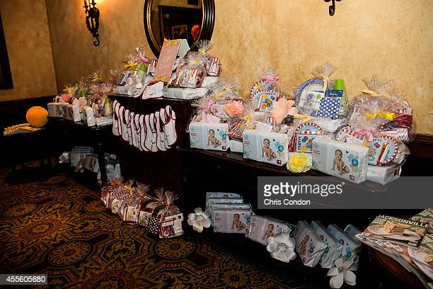 Gift bags for military motherstobe during the Operation Shower 'Hello Sunshine' event held at the clubhouse before the Webcom Tour Championship at...