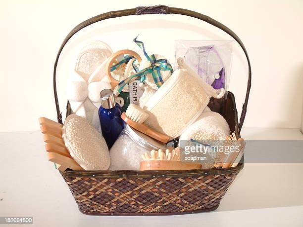 a gift basket of spa essentials - basket stock photos and pictures