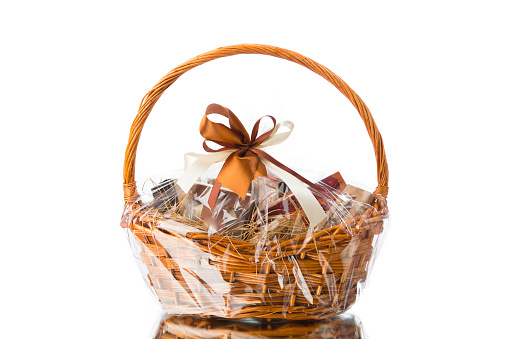 gift basket on white background 1028963440