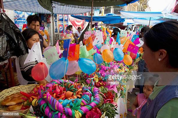 Gift Basket Vendor At The Jueves De Comadres Market During Carnaval Chapaco Tarija Bolivia