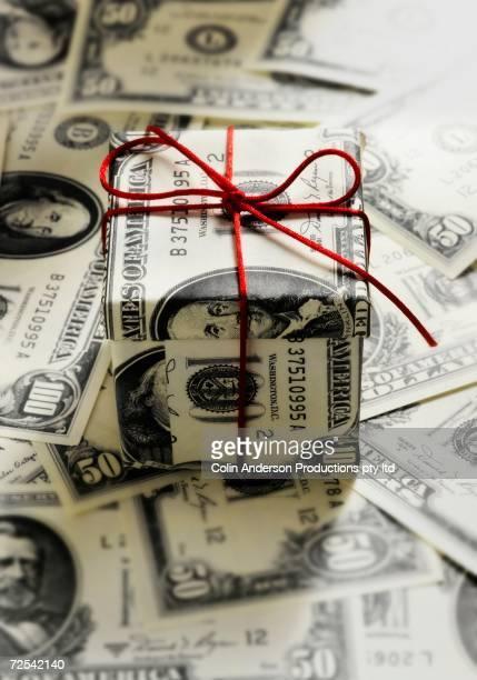 Gift box made of US Dollars