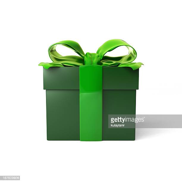 gift box - green stock pictures, royalty-free photos & images
