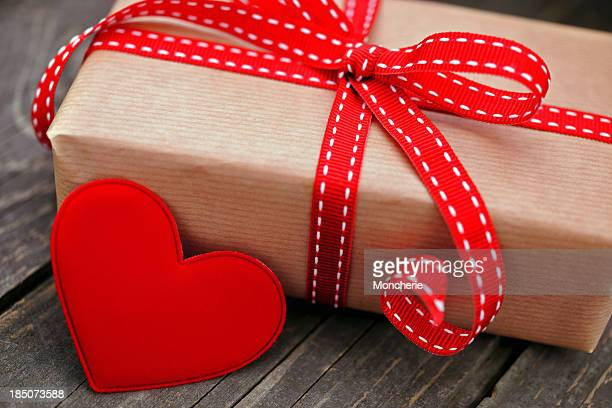Gift box with a red heart