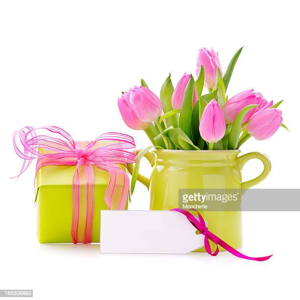 Gift box with an empty card and tulips