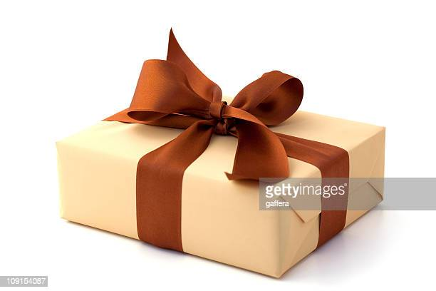 Gift box with brown bow and tan