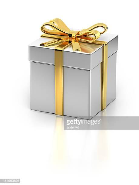 Boîte-cadeau avec ruban doré
