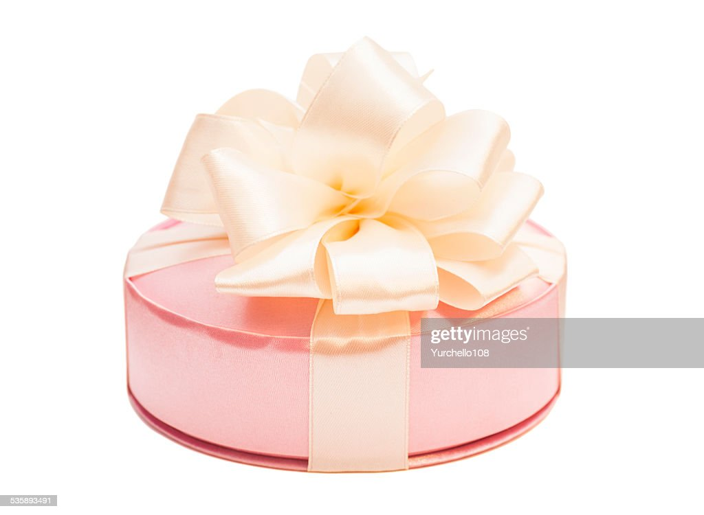 Gift box with ribbon bow isolated on white background : Stock Photo
