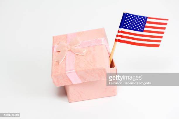 Gift box with the United States flag. Made in America