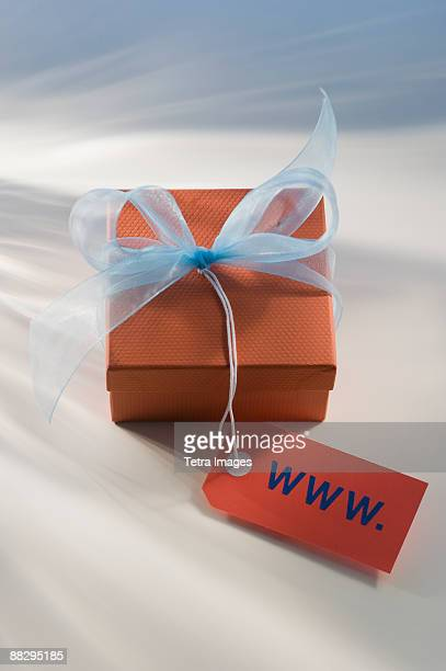 Gift box with WWW tag