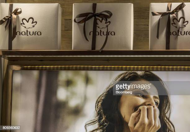 Gift boxes are displayed at a Natura Cosmeticos SA store inside the Santos Dumont Airport in Rio de Janeiro Brazil on Monday June 25 2017 British...