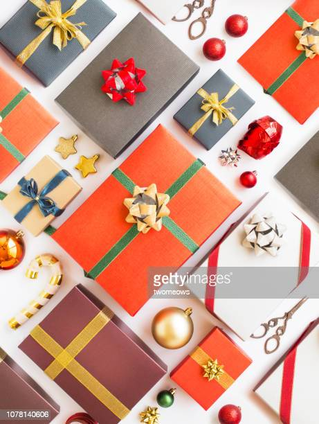 gift boxes background. - christmas still life stock pictures, royalty-free photos & images