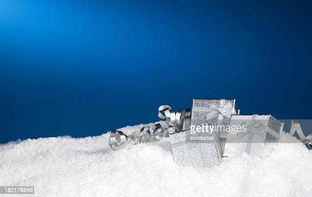 gift boxes - fake snow stock pictures, royalty-free photos & images