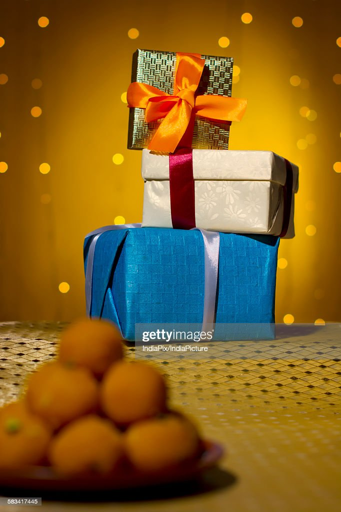 Gift boxes stacked : Stock Photo