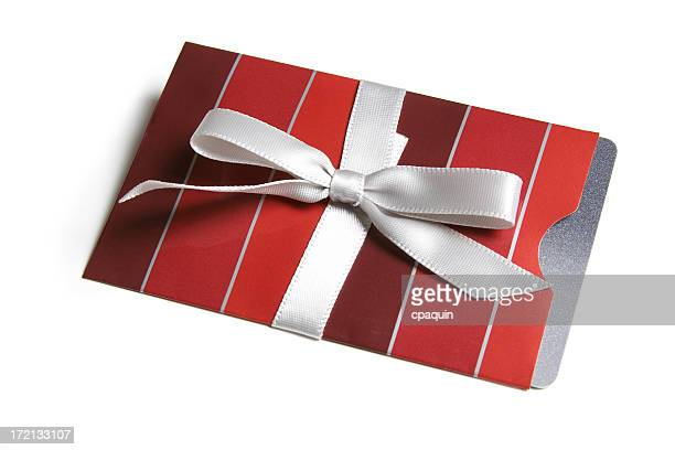 Gift card envelope wrapped in a white bow