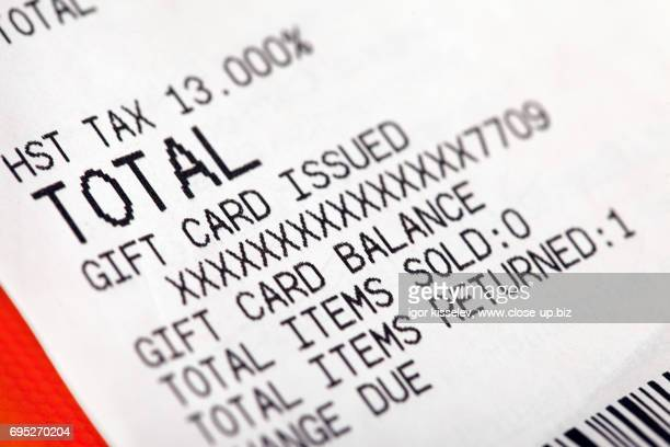 gift card receipt close-up - receipt stock pictures, royalty-free photos & images