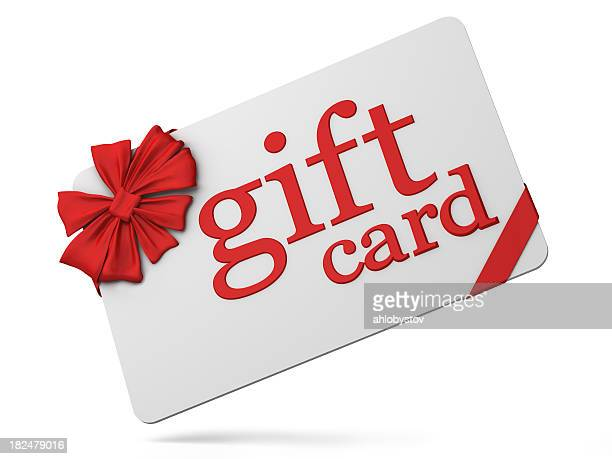 3d gift card, white with red bow - coupon stock photos and pictures