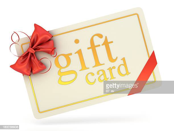A gift card with a red bow on a white background