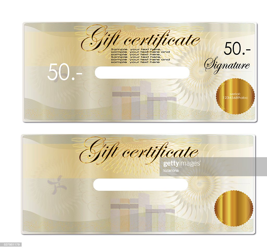 gift coupon gift voucher bottom blank to fill in any program stock photo