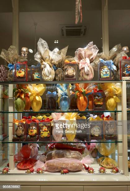 gift easter eggs in patisserie spathis - greek easter stock pictures, royalty-free photos & images