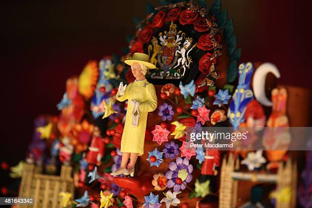 A gift for Queen Elizabeth II from President Enrique Peña Nieto of Mexico entitled 'Tree of Life' is displayed at The Royal Welcome exhibition Summer...