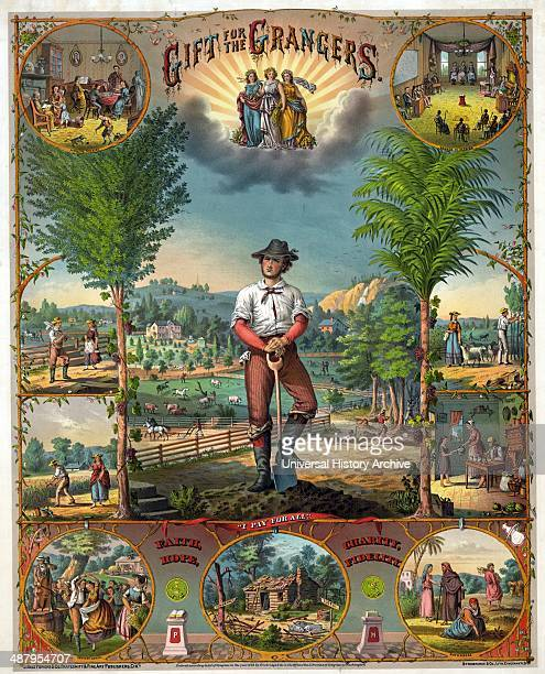 Gift for the grangers c1873 chromolithograph Promotional print for Grange members showing scenes of farming and farm life