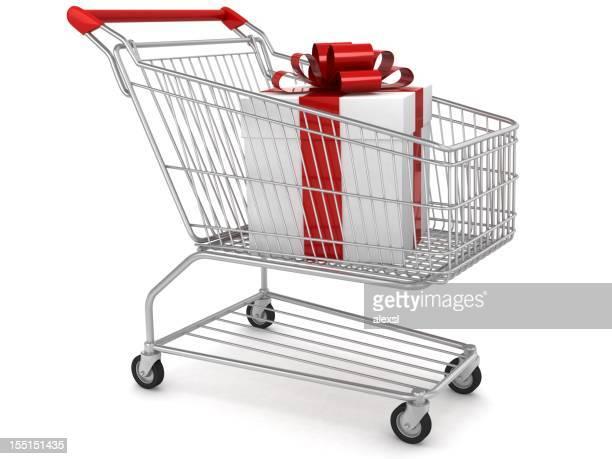 Geschenk im Einkaufswagen
