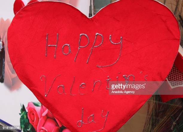 A gift is seen at a souvenir shop on Valentine's Day in Kabul Afghanistan on February 14 2018