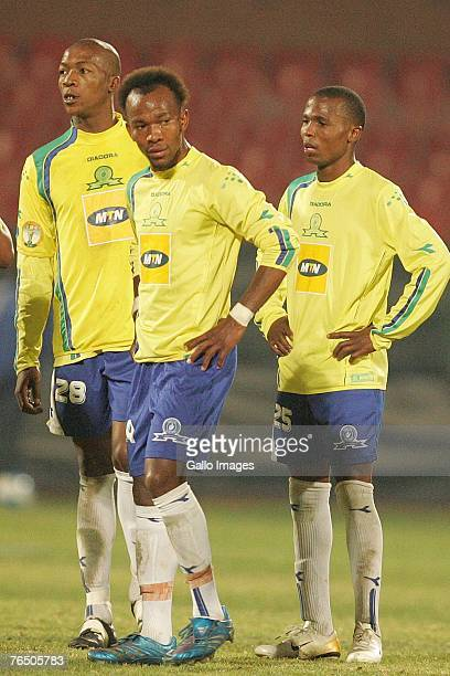 Gift Leremi and Shere Lekgothoane look on during the Confederation Cup match between Mamelodi Sundowns and Astres Douala held at Loftus Versfeld...