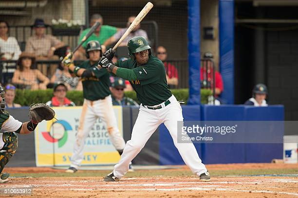 Gift Ngoepe of Team South Africa bats during Game 6 of the World Baseball Classic Qualifier against Team Australia at Blacktown International...