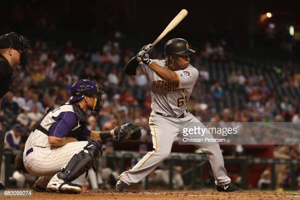 Gift Ngoepe of the Pittsburgh Pirates bats against the Arizona Diamondbacks during the third inning of the MLB game at Chase Field on May 11 2017 in...