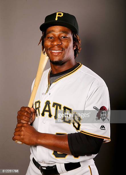 Gift Ngoepe of the Pittsburgh Pirates poses for a portrait on February 25 2016 at Pirate City in Bradenton Florida