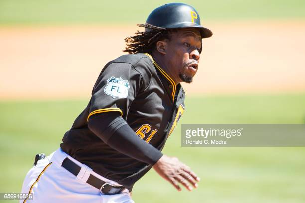 Gift Ngoepe of the Pittsburgh Pirates runs during a spring training game against the Toronto Blue Jays at LECOM Park on March 19 2017 in Bradenton...