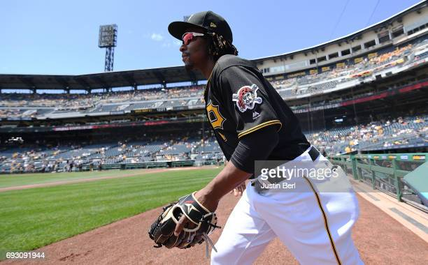 Gift Ngoepe of the Pittsburgh Pirates takes the field before the game against the Arizona Diamondbacks at PNC Park on May 31 2017 in Pittsburgh...