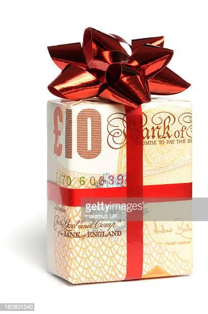 presente de dinheiro - nota de dez pounds - fotografias e filmes do acervo